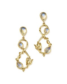 Temple St. Clair - 18K Yellow Gold Double Leaf Royal Blue Moonstone Earrings