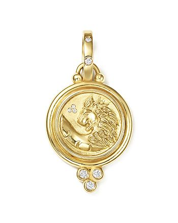 Temple St. Clair - 18K Yellow Gold Lion Coin Diamond Pendant