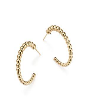 14K Yellow Gold Graduated Bead Hoop Earrings - 100% Exclusive
