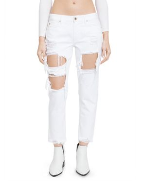 Pistola Remy Distressed Cropped Boyfriend Jeans in White Out