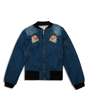 Hudson - Girls' Embroidered Bomber Jacket - Big Kid