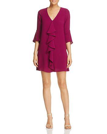 Adrianna Papell - Three-Quarter Sleeve Ruffle Dress