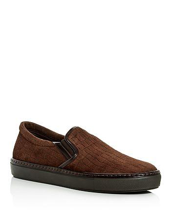 Armani - Men's Croc Embossed Suede Slip-On Sneakers