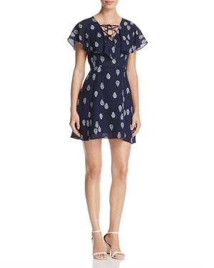 cupcakes and cashmere Velina Lace-Up Neck Dress