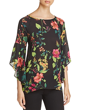 Status by Chenault Floral Print Bell-Sleeve High/Low Top - 100% Exclusive