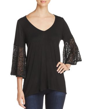 Status by Chenault Lace-Bell-Sleeve Top