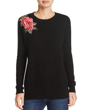 C by Bloomingdale's Embroidered Patch Cashmere Sweater - 100% Exclusive