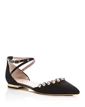 kate spade new york Beatrice Faux Pearl Embellished Ankle Strap Flats