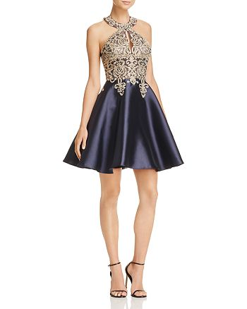 Avery G - Embroidered Fit-and-Flare Dress