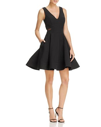AQUA - Mesh-Side Fit-and-Flare Dress - 100% Exclusive