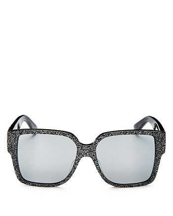 Saint Laurent - Women's Mirrored Oversized Square Glitter Sunglasses, 55mm