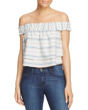 Wayf North Shore Off-the-Shoulder Cropped Top - 100% Exclusive