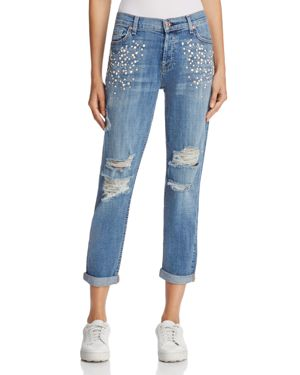 7 For All Mankind Josefina Embellished Boyfriend Jeans in Vintage Wythe with Studs - 100% Exclusive 2690443