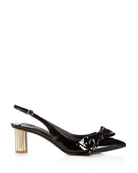 Salvatore Ferragamo - Women's Bow Slingback Floral Heel Pumps