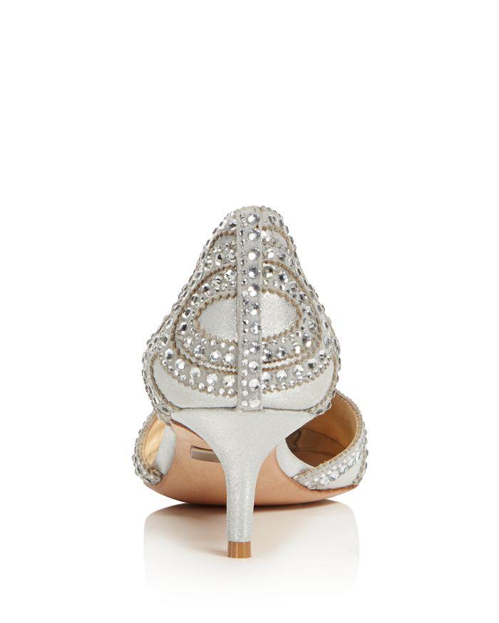 dafa1dfe53 Badgley Mischka - Women's Ginny Metallic Suede Embellished d'Orsay Pointed  Toe Pumps