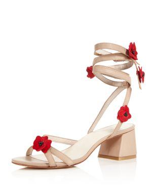 Raye Cassia Flower Embellished Ankle Wrap Block Heel Sandals