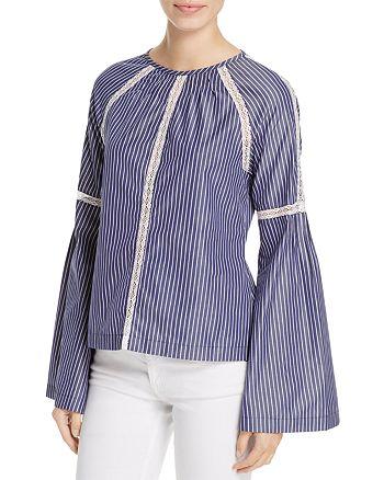 Cosette - Nichol Lace Inset Bell Sleeve Stripe Top