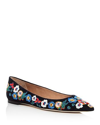 cbeb2c64960072 Tory Burch Women s Rosemont Embroidered Suede Pointed Toe Flats ...