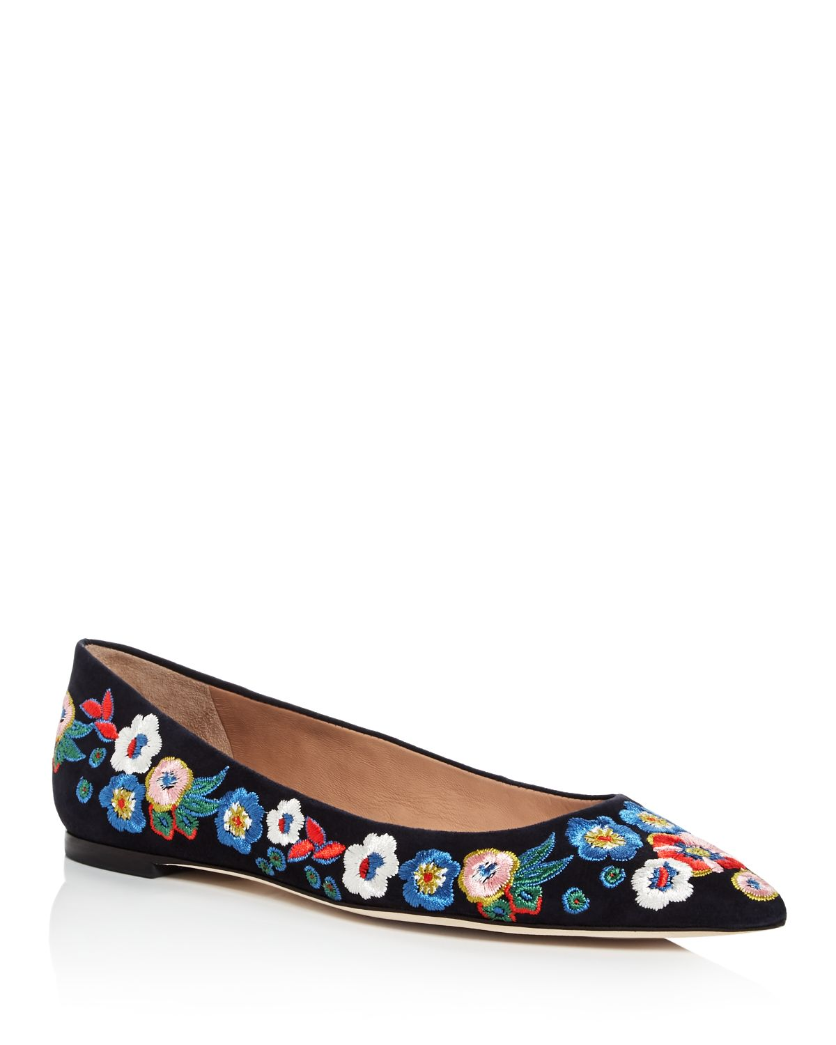 Tory Burch Women's Rosemont Embroidered Suede Pointed Toe Flats