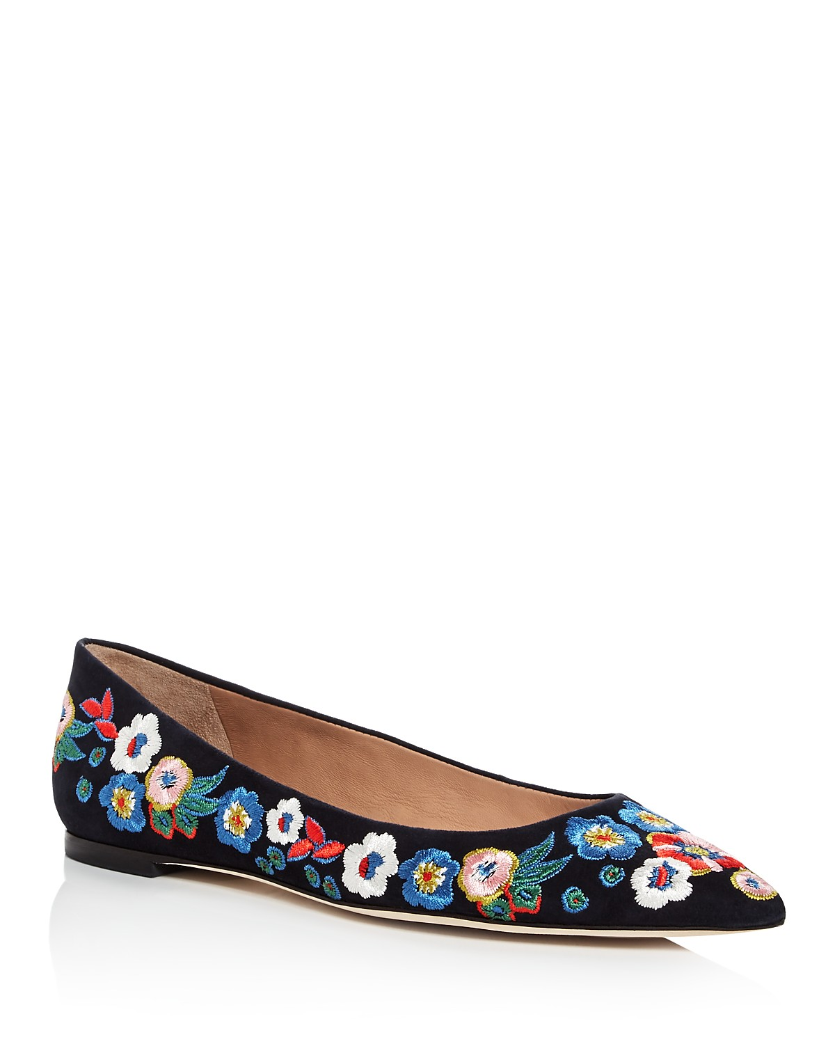 Tory Burch Women's Rosemont Embroidered Suede Pointed Toe Flats Yq1Os