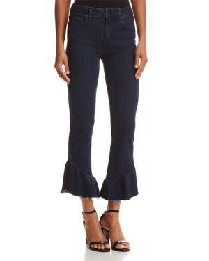 Paige Flounce-Hem Straight-Leg Jeans in Merritt
