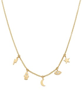Zoë Chicco - 14K Yellow Gold Itty Bitty Celestial Charms Necklace with Diamonds, 16""