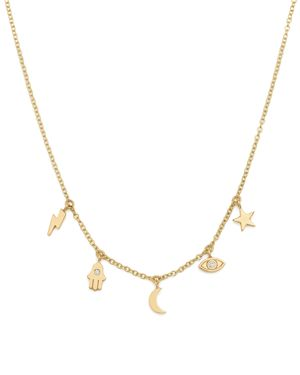 Zoe Chicco 14K Yellow Gold Itty Bitty Celestial Charms Necklace with Diamonds, 16