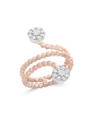 Diamond Cluster Beaded Ring in 14K White and Rose Gold, .35 ct. t.w. - 100% Exclusive
