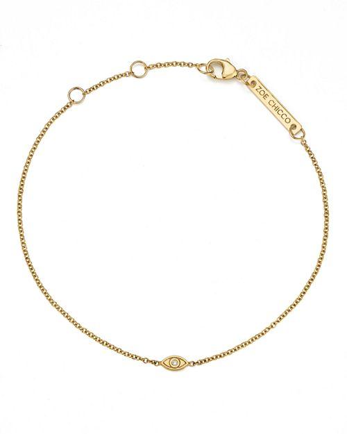 Zoë Chicco - 14K Yellow Gold Itty Bitty Diamond Evil Eye Bracelet