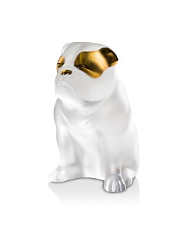 Lalique - Bulldog Figure, Clear and Gold Stamped