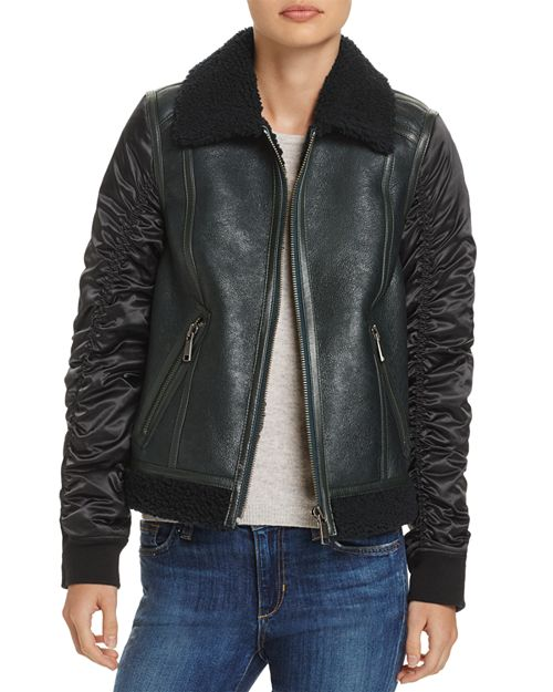 Andrew Marc - Tally Shearling Trim Mixed Media Jacket