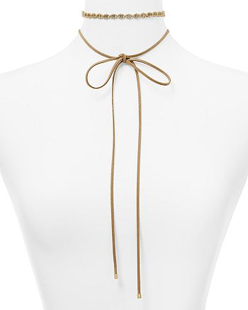 "Argento Vivo - Adorned Hexagon Suede Choker Necklace, 60"""