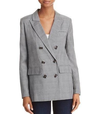 $AQUA Plaid Double-Breasted Blazer - 100% Exclusive - Bloomingdale's