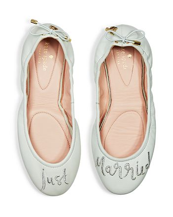 e1bd088189d8 Kate Spade New York Gwen Leather Just Married Travel Ballet Flats