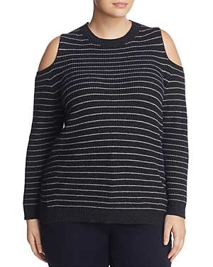 Lucky Brand Plus Stripe Cold-Shoulder Sweater