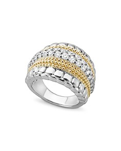 LAGOS - 18K Gold and Sterling Silver Diamond Lux Ring