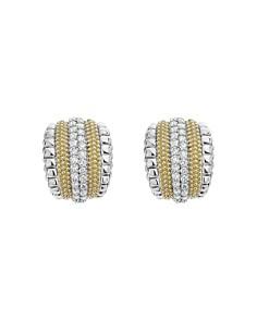 LAGOS - 18K Gold and Sterling Silver Diamond Lux Curved Huggie Hoop Earrings