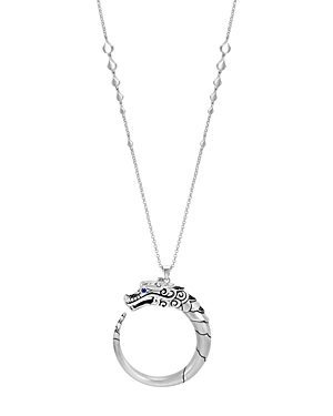 John Hardy Sterling Silver Naga Brushed Pendant Necklace with Black Sapphire, Black Spinel and Blue
