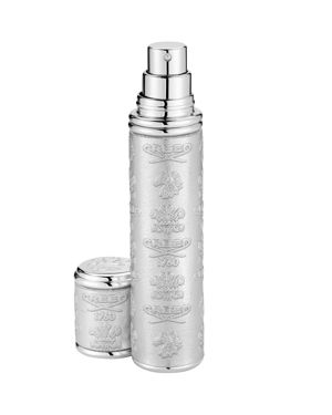 SILVER LEATHER WITH SILVER TRIM POCKET ATOMIZER