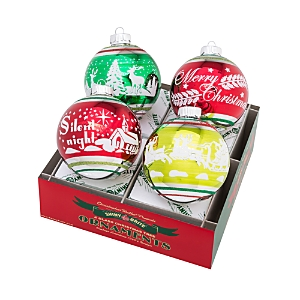 Christopher Radko Holiday Splendor Signature Flocked Ball Ornaments, Set of 4