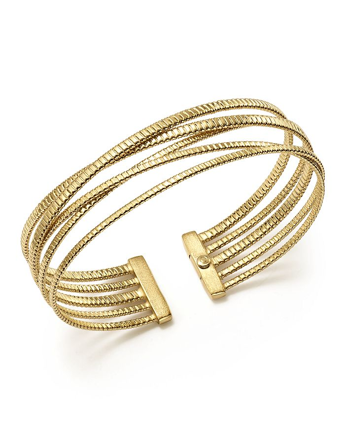 Bloomingdale's - 14K Yellow Gold Ribbed Five Row Crossover Cuff - 100% Exclusive