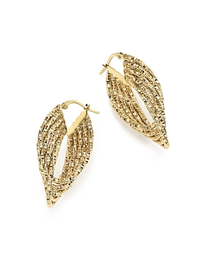 14K Yellow Gold Four-Layer Textured Oval Hoop Earrings - 100% Exclusive