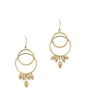 14K Yellow Gold Beaded Double Circle Drop Earrings - 100% Exclusive