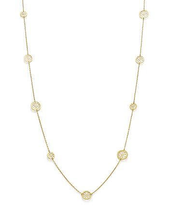 """Bloomingdale's - 14K Yellow Gold Flower Medallion Station Necklace, 35.5"""" - 100% Exclusive"""