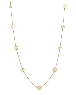 14K Yellow Gold Flower Medallion Station Necklace, 35.5 - 100% Exclusive