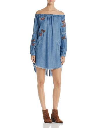 Billy T - Butterfly Embroidered Off-the-Shoulder Chambray Dress