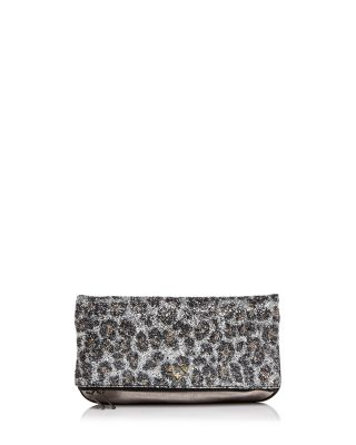 $Zadig & Voltaire Leopard Print Glitter Leather Clutch - Bloomingdale's