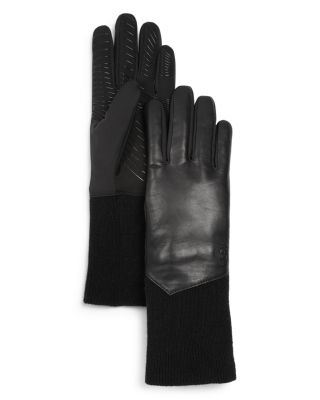 U/R Leather Tech Gloves in Black