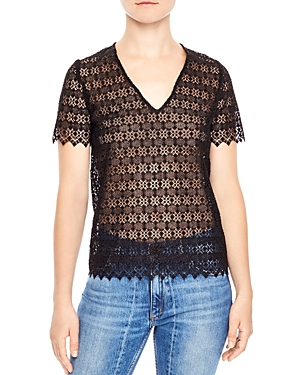 Sandro Alys Lace Illusion Top