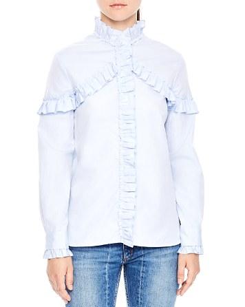 $Sandro Suzy Ruffle Shirt - Bloomingdale's